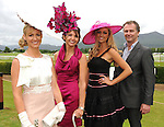From left are Emir Irwin O'Shea, Killarney, winner of the Dawn Dairies Queen of Fashion award, Carol Kennelly, Tralee, winner of the most stylish hat award with Queen of Fashion Judges Rosanna Davison  and Daithi O'Se  at Killarney Races on Thursday. Picture: Eamonn Keogh (MacMonagle, Killarney)