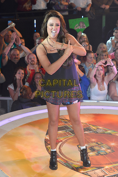 Charlotte Crosby<br /> 'Celebrity Big Brother 2013' arrivals at Elstree Studios, Borehamwood, England 22nd August 2013<br /> CBB full length black top hands arms divl fingers sign gesture mouth open skirt boots blue tongue <br /> CAP/PL<br /> &not;&copy;Phil Loftus/Capital Pictures