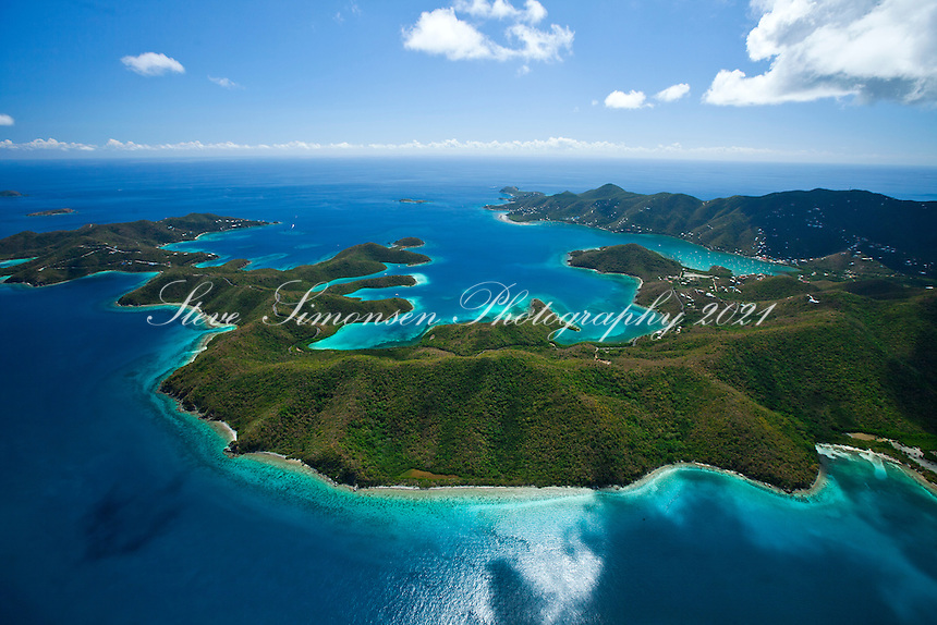 Aerial view of the East End Wilderness looking across to Hurricane Hole and beyond.St. John.U.S. Virgin Islands