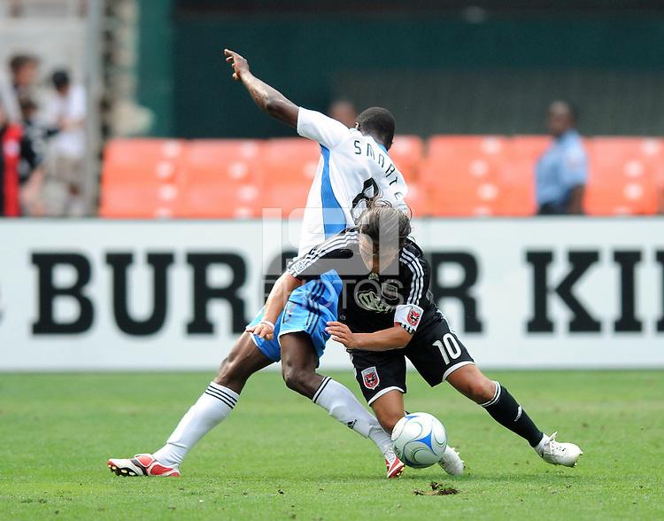 DC United midfielder Marcelo Gallardo (10) gets foul by San Jose Earthquakes forward Adam Smarte (8),DC United defeated The San Jose Earthquakes 3-1, at RFK Stadium in Washington DC, Sunday June 22, 2008.