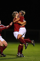 14 September 2007: Stanford Cardinal Shari Summers (right) and Allison Falk (left) during Stanford's 3-2 win in the Stanford Invitational against the Missouri Tigers at Maloney Field in Stanford, CA.
