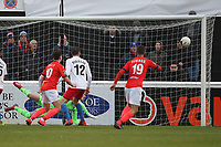 Remy Clerima of Maidenhead (out of shot) scores the first goal for his team during Dagenham & Redbridge vs Maidenhead United, Vanarama National League Football at the Chigwell Construction Stadium on 7th December 2019