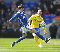 Leeds United's Ezgjan Alioski  in action with Birmingham City's Michael Morrison<br /> <br /> Photographer Mick Walker/CameraSport<br /> <br /> The EFL Sky Bet Championship - Birmingham City v Leeds United - Saturday 6th April 2019 - St Andrew's - Birmingham<br /> <br /> World Copyright © 2019 CameraSport. All rights reserved. 43 Linden Ave. Countesthorpe. Leicester. England. LE8 5PG - Tel: +44 (0) 116 277 4147 - admin@camerasport.com - www.camerasport.com