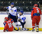 Pavel Zotov (Russia - 16), Valtteri Virkkunen (Finland - 22), Janne Kumpulainen (Finland - 15), Kirill Yuriev (Russia - 5) - Russia defeated Finland 4-0 at the Urban Plains Center in Fargo, North Dakota, on Friday, April 17, 2009, in their semi-final match during the 2009 World Under 18 Championship.