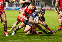 Picture by Allan McKenzie/SWpix.com - 26/04/2018 - Rugby League - Betfred Super League - Salford Red Devils v St Helens - AJ Bell Stadium, Salford, England - Jake Shorrocks is unable to prevent Theo Fages from scoring a try.