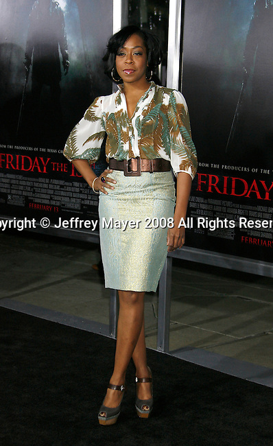 "HOLLYWOOD, CA. - February 09: Actress Tichina Arnold arrives at the Los Angeles premiere of ""Friday The 13th"" at Grauman's Chinese Theater on February 9, 2009 in Hollywood, California."