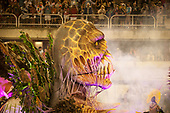 Imperatriz Leopolinense Samba School, Carnival, Rio de Janeiro, Brazil, 26th February 2017. The 'Beautiful Monster' - Belo Monstro - float. The Monster, representing mines and hydroelectric dams, ready to devour the forest, its people and its animals.