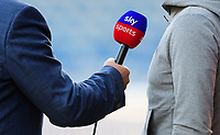 A close up of a Sky Sports microphone during an interview<br /> <br /> Photographer Chris Vaughan/CameraSport<br /> <br /> The Carabao Cup First Round - Huddersfield Town v Lincoln City - Tuesday 13th August 2019 - John Smith's Stadium - Huddersfield<br />  <br /> World Copyright © 2019 CameraSport. All rights reserved. 43 Linden Ave. Countesthorpe. Leicester. England. LE8 5PG - Tel: +44 (0) 116 277 4147 - admin@camerasport.com - www.camerasport.com