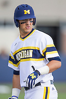 Michigan Wolverines first baseman Drew Lugbauer (17) in action against the Eastern Michigan Hurons on May 3, 2016 at Ray Fisher Stadium in Ann Arbor, Michigan. Michigan defeated Eastern Michigan 12-4. (Andrew Woolley/Four Seam Images)