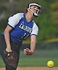 Lindsay Roman #18, Calhoun left-handed pitcher, delivers to the plate in the top of the third inning of the Nassau County varsity softball Class AA semifinals against Farmingdale at Calhoun High School on Monday, May 14, 2018. She held Farmingdale hitless for 6 2/3 innings and drove in two runs to lead Calhoun to a 4-2 win in Game 1 of the best-of-three playoff series.