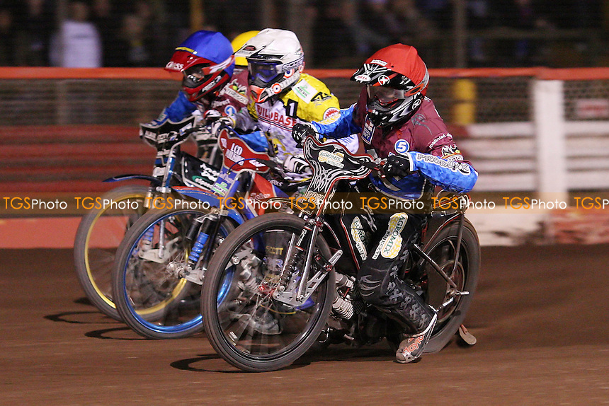 Heat 15: Adam Shields (red), Chris Harris (white), Krzysztof Kasprzak (blue) and Edward Kennett (yellow) - Lakeside Hammers vs Coventry Bees, Elite League Speedway at the Arena Essex Raceway, Purfleet - 09/04/10 - MANDATORY CREDIT: Rob Newell/TGSPHOTO - Self billing applies where appropriate - 0845 094 6026 - contact@tgsphoto.co.uk - NO UNPAID USE.