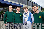 Pupils from Colaiste Gleann Lí (formerly Tralee Community College) who sat the Leaving Cert English paper 1 on Wednesday morning were l-r: Arek Swigon, Mindauragas Arlauskas, Tom Moynihan and Yumniz Li.