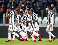 Calcio, Serie A: Juventus - Genoa, Torino, Allianz Stadium, 22 gennaio 2018. <br /> Juventus' Douglas Costa celebrates with his teammates after scoring during the Italian Serie A football match between Juventus and Genoa at Torino's Allianz stadium, January 22, 2018.<br /> UPDATE IMAGES PRESS/Isabella Bonotto