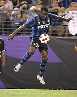 Nsofor Victor Obinna #33 of Inter Milan pulls down a high ball during an international friendly match against Manchester City on July 31 2010 at M&T Bank Stadium in Baltimore, Maryland. Milan won 3-0.