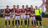 The Apprentice Team (l-r) David Stevenson (The Apprentice 2015), Gary Poulton (The Apprentice 2015), Mergim Butaja (The Apprentice 2015), Joseph Valence (The Apprentice 2015), Scott Saunders (The Apprentice 2015), Frankie Vu (Football Freestyler) & Andrew Hayden Smith during the SOCCER SIX Celebrity Football Event at the Queen Elizabeth Olympic Park, London, England on 26 March 2016. Photo by Andy Rowland.