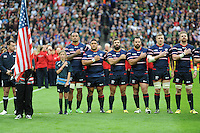 07 October 2015: Players sing the national anthem before Match 31 of the Rugby World Cup 2015 between South Africa and USA - Queen Elizabeth Olympic Park, London, England (Photo by Rob Munro/CSM)