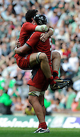 Twickenham, GREAT BRITAIN, Toulouses' Jean BOULILOU, jumps up on to Patricio ALBACTETE, after the final whistle as Toulosue win the Heineken, Semi Final, Cup Rugby Match,  London Irish vs Toulouse, at the Twickenham Stadium on Sat 26.04.2008 [Photo, Peter Spurrier/Intersport-images]