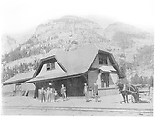 Ouray depot around 1900 with unidentified people on platform and horse and wagon.<br /> D&amp;RG  Ouray, CO  ca. 1900