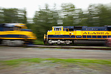 USA, Alaska, Talkeetna, two trains pass one another on the railroad in Talkeetna