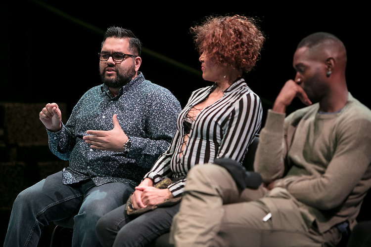 """Left to right, Nathan Singh, director of """"Wig Out!"""" and 3rd year MFA Directing student in The Theatre School, Gloria """"Mama Gloria"""" Allen, retired nurse and a trans-community activist in Chicago, and Tarell Alvin McCraney, playwright of """"Wig Out!"""" and Oscar award winning playwright and screenwriter for """"Moonlight,"""" talk with students, faculty and staff from the set of """"Wig Out!"""" on the Fullerton Stage in The Theatre School building, Friday, April 21, 2017. (DePaul University/Jeff Carrion)"""