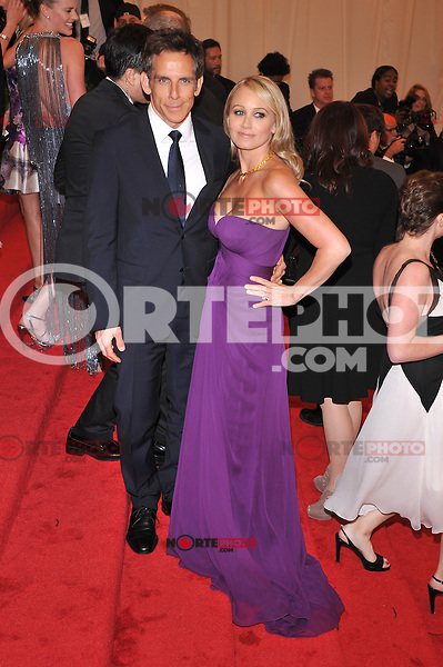 Ben Stiller and Christine Taylor at the 'Schiaparelli And Prada: Impossible Conversations' Costume Institute Gala at the Metropolitan Museum of Art on May 7, 2012 in New York City. ©mpi03/MediaPunch Inc.