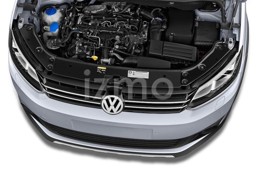 Car Stock 2013 Volkswagen Caddy Cross 5 Door Mini MPV 2WD Engine high angle detail view