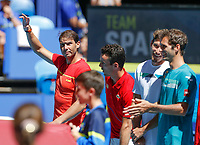 8th January 2020; RAC Arena, Perth, Western Australia; ATP Cup Australia, Perth, Day 6; Spain versus Japan; Rafael Nadal of Spain walks out onto the court with his team - Editorial Use