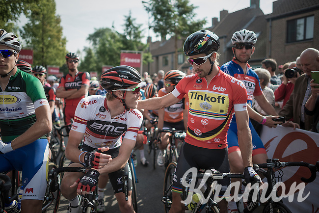 Overall leader Rohan Dennis (AUS/BMC) & 2nd placed Peter Sagan (SVK/Tinkoff) in a friendly conversation before the start.<br /> At the end of the stage the roles (standings) would be reversed...<br /> <br /> 12th Eneco Tour 2016 (UCI World Tour)<br /> stage 4: Aalter - St-Pieters-Leeuw (202km)