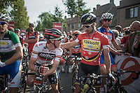 Overall leader Rohan Dennis (AUS/BMC) &amp; 2nd placed Peter Sagan (SVK/Tinkoff) in a friendly conversation before the start.<br /> At the end of the stage the roles (standings) would be reversed...<br /> <br /> 12th Eneco Tour 2016 (UCI World Tour)<br /> stage 4: Aalter - St-Pieters-Leeuw (202km)