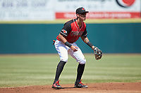 Hickory Crawdads shortstop Chris Seise (2) on defense against the Lakewood BlueClaws at L.P. Frans Stadium on April 28, 2019 in Hickory, North Carolina. The Crawdads defeated the BlueClaws 10-3. (Brian Westerholt/Four Seam Images)