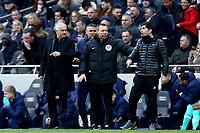 1st March 2020; Tottenham Hotspur Stadium, London, England; English Premier League Football, Tottenham Hotspur versus Wolverhampton Wanderers; Tottenham Hotspur Manager Jose Mourinho has words with Wolverhampton Wanderers assistant manager Rui Silva