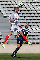 Joe Worrall of Nottingham Forest and England heads the ball away as Alex Iacovitti of Nottingham Forest and Scotland looks on during England Under-18 vs Scotland Under-20, Toulon Tournament Semi-Final Football at Stade Parsemain on 8th June 2017