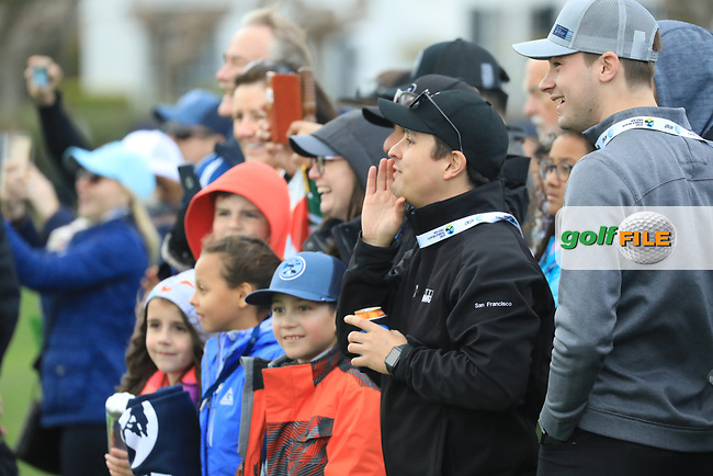 Fans in action at Pebble Beach Golf Links during the third round of the AT&amp;T Pro-Am, Pebble Beach Golf Links, Monterey, USA. 09/02/2019<br /> Picture: Golffile | Phil Inglis<br /> <br /> <br /> All photo usage must carry mandatory copyright credit (&copy; Golffile | Phil Inglis)