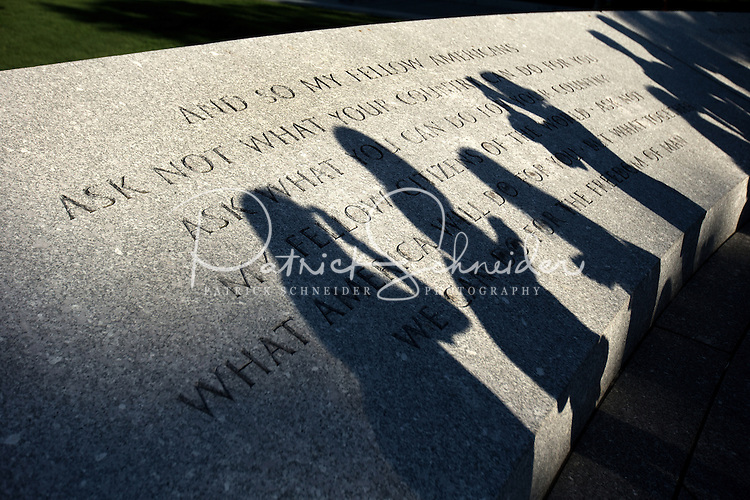 Shadows are cast on the stone markers at the Kennedy Memorial at Arlington Cemetery.