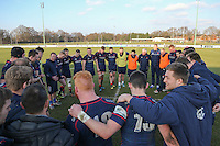 The London Scottish team in a huddle after the Greene King IPA Championship match between London Scottish Football Club and Jersey at Richmond Athletic Ground, Richmond, United Kingdom on 18 February 2017. Photo by David Horn / PRiME Media Images.