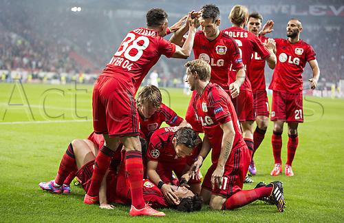 27.08.2014. Leverkusen, Germany. UEFA Champions League qualification match. Bayer Leverkusen versus FC Copenhagen. Goal celebrations from  Heung-Min Son (Bayer) - Karim Bellarabi (Bayer), Tin Jedvaj (Bayer), Hakan Calhanoglu (Bayer), Stefan Kiessling (Bayer), Emir Spahic (Bayer), Simon Rolfes (Bayer), Sebastian Boenisch (Bayer), Omer Toprak (Bayer)