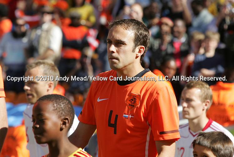 14 JUN 2010: Joris Mathijsen (NED). The Netherlands National Team defeated the Denmark National Team 2-0 at Soccer City Stadium in Johannesburg, South Africa in a 2010 FIFA World Cup Group E match.