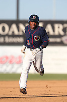 Tony Kemp #3 of the Lancaster JetHawks runs the bases during a game against the Stockton Ports at The Hanger on June 24, 2014 in Lancaster, California. Stockton defeated Lancaster, 6-4. (Larry Goren/Four Seam Images)