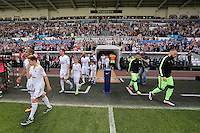 Swansea and Manchester City players come out of the tunnel before kick off at the Swansea City FC v Manchester City Premier League game at the Liberty Stadium, Swansea, Wales, UK, Sunday 15 May 2016