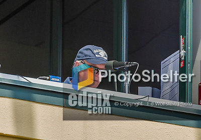 19 March 2015: Miami Marlins Hall of Fame radio broadcaster Dave Van Horne prepares for a Spring Training game against the Atlanta Braves at Champion Stadium in the ESPN Wide World of Sports Complex in Kissimmee, Florida. The Braves defeated the Marlins 6-3 in Grapefruit League play. Mandatory Credit: Ed Wolfstein Photo *** RAW (NEF) Image File Available ***