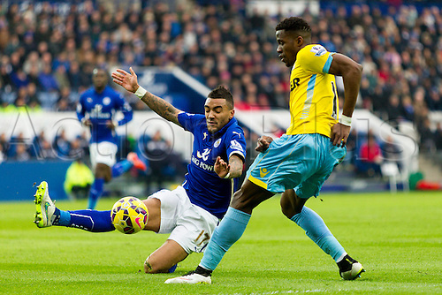 07.02.2015.  Leicester, England. Barclays Premier League. Leicester City versus Crystal Palace. Danny Simpson of Leicester City tries to stop a cross from Wlfried Zaha of Crystal Palace.