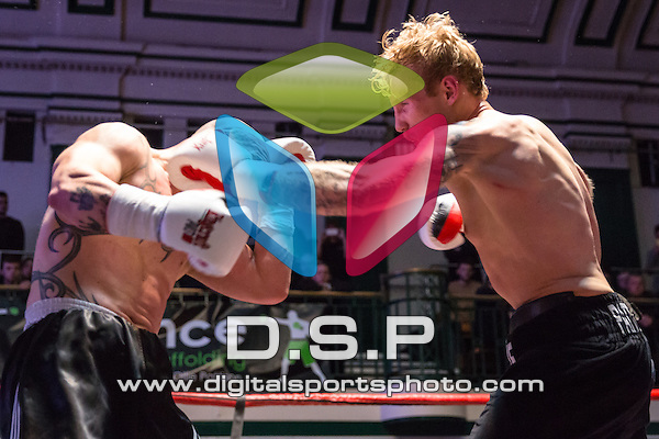 Ollie Pattison VS Tzvetozar Iliev - Light Heavyweight Contest. Photo by: Stephen Smith.<br /> <br /> Goodwin Boxing: Paddy's Day Punch Up - Saturday 19th March 2016. York Hall, Bethnal Green, London, United Kingdom.