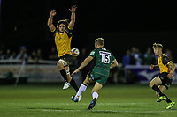 Greig Tonks of London Irish kicks clear during the Greene King IPA Championship match between Ealing Trailfinders and London Irish Rugby Football Club  at Castle Bar, West Ealing, England  on 1 September 2018. Photo by David Horn.