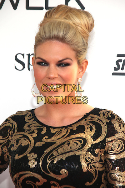 Frankie Essex .Essex Fashion Week in Dagenham, Essex, England..6th October 2012.headshot portrait hair up smokey eyes black gold print  make-up.CAP/JEZ  .©Jez/Capital Pictures.