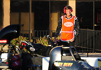 Feb. 17 2012; Chandler, AZ, USA; Former pitcher Randy Johnson looks on as he works as a member of the media during NHRA qualifying for the Arizona Nationals at Firebird International Raceway. Mandatory Credit: Mark J. Rebilas-