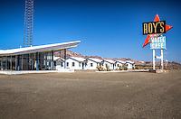 Roy's Motel and Cafe in Amboy California on Route 66.  Built in the late 1930's by Roy and Velma Crowl and operated by him and his family until 1995.  The town was then sold and leter foreclosed and is now owned by Albert Okura, who plans to restore the town.