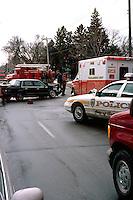 Emergency car accident site.  St Paul Minnesota USA