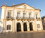 Historic facade of the district council municipal building in the old walled town area of far, Algarve, Portugal