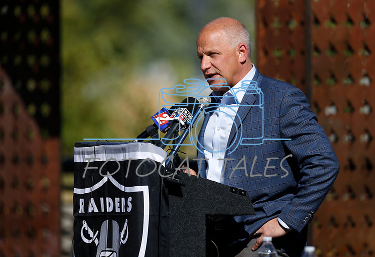 Following a tour of several local campuses, Raiders president Marc Badain speaks at a press conference in Reno, Nev., on Thursday, Aug. 16, 2018. The Raiders are considering several potential training camp locations in Reno. (Cathleen Allison/Las Vegas Review-Journal)
