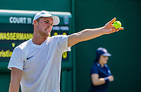 London, England, 7 th. July, 2018, Tennis,  Wimbledon, Juniors first round: Deney Wassermann (NED)<br /> Photo: Henk Koster/tennisimages.com